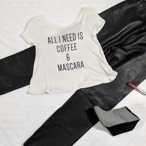 Graphic Crop Tee with High-Low Neckline